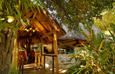 Thamalakane River lodge entrance to restaurant